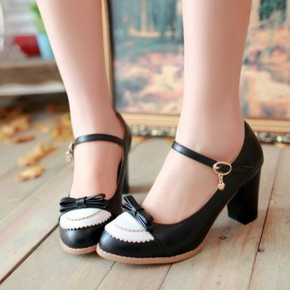 FREE SHIPPING Cute Black Bow Heeled Shoes