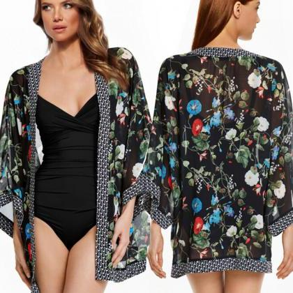 FAST SHIPPING 2016 New Fashion Women Floral Prints Chiffon Kimono