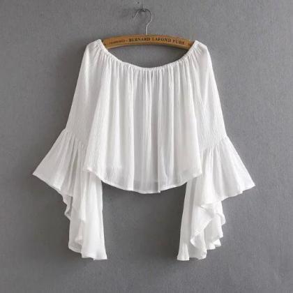 Off-the-shoulder Cropped Top with F..
