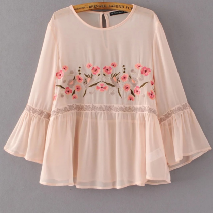 Pink Floral Embroidered Blouse with..