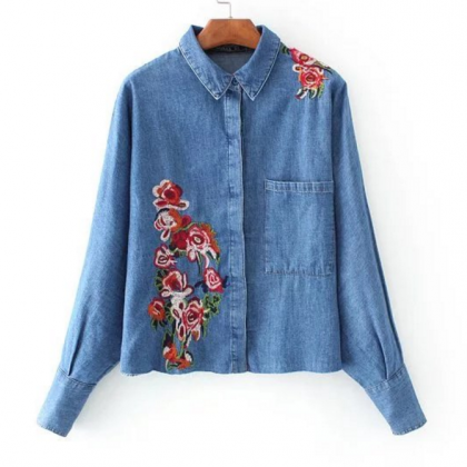 Floral Embroidered Denim Button Dow..