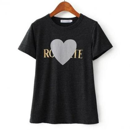 Heart Printed Graphic Round Neck T-..