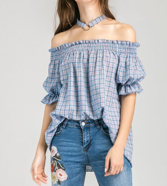 Summer Women Sexy Off-the-shoulder Blouses Slash Neck Short Sleeve Plaid Shirt With Choker