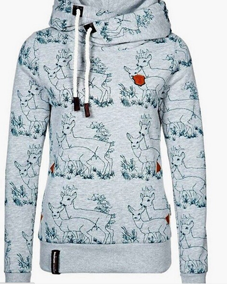 FREE SHIPPING Fall/Winter Long Sleeve Deer Print Hoodie Gray Sweater Sweatshirt