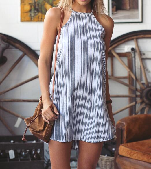 Simple Vertical Striped A-line Halter Dress