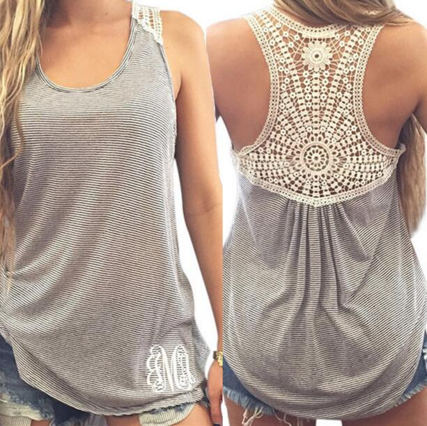 Black/White New Women's Fashion Stripe Printed Lace Stitching Tank Top T-shirt