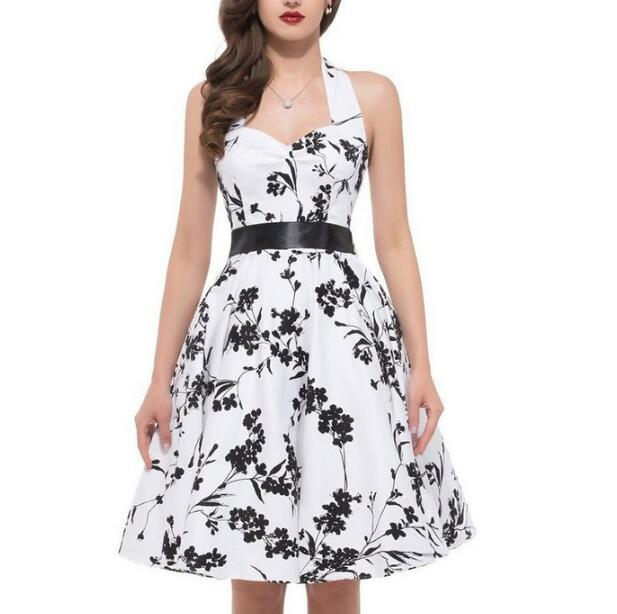FREE SHIPPING 2016 Vintage Women's Black White Floral Print Halter Dress, Backless Fit and Flare Dress