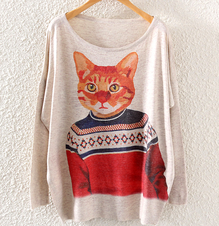 Fall Winter Women Fashion Vintage Cat Print Oversize Sweater