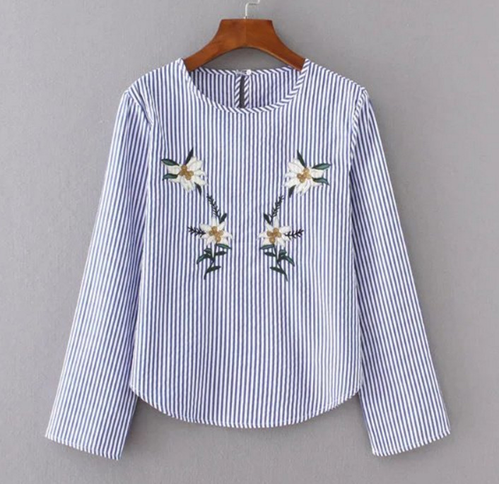 Blue and White Vertical Stripes Long Sleeve Shirt Featuring Floral Embroidery