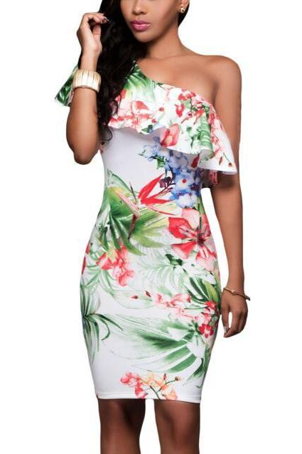 Floral Print One Shoulder Off Ruffle Bodycon Women Party Dress Green White
