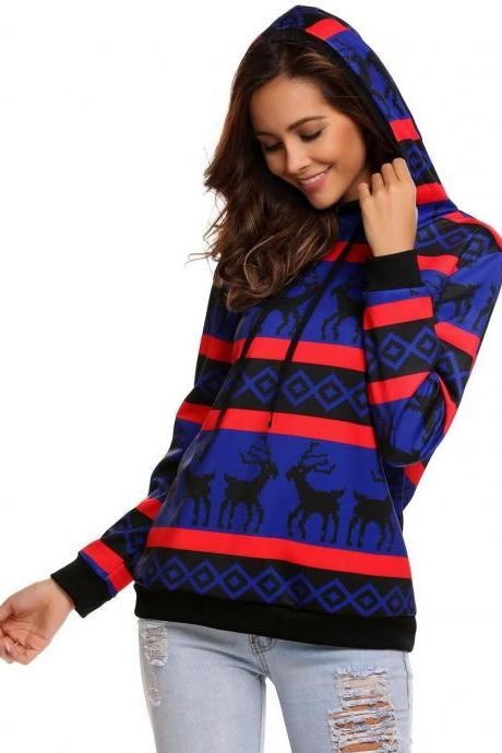 Cute Deer Print Hoodie Long Sleeve Sweatshirt Blue