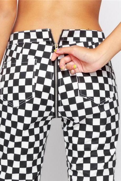 Checker Zipper Pants Harajuku Casual Pants