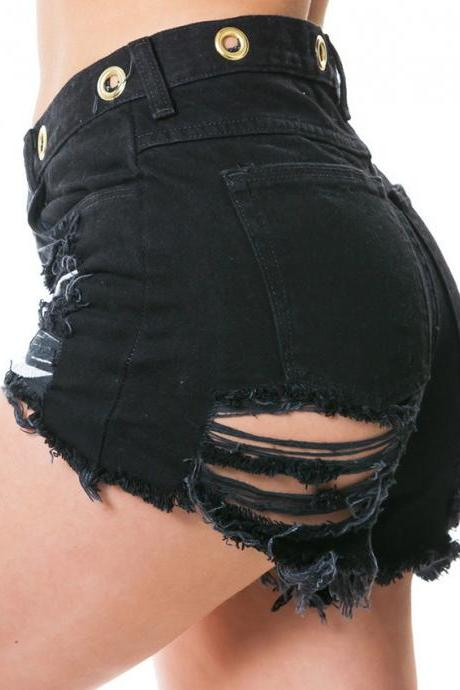 Black Ripped Hot Shorts