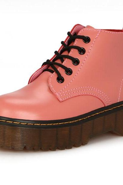 Peach Martin Lace-up Platform Boots