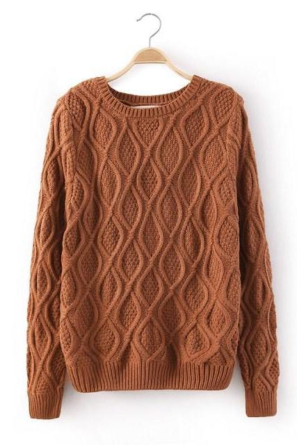 FREE SHIPPING Retro Brown Crew Neck Knit Sweater