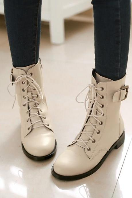 FREE SHIPPING Fall/ Winter 2016 Buckled College Beige Boots