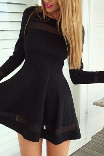 FREE SHIPPING Fall Winter 2016 Slim Black Elegant Dress