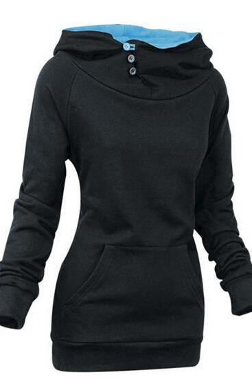 FREE SHIPPING Fall/Winter Long Sleeve Black Hoodie Sweater Sweatshirt