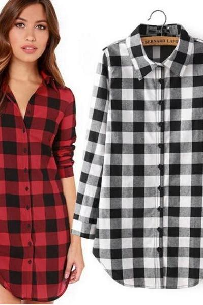 FREE SHIPPING Fall/Winter Vintage Long Sleeve Plaid Shirt Blouse