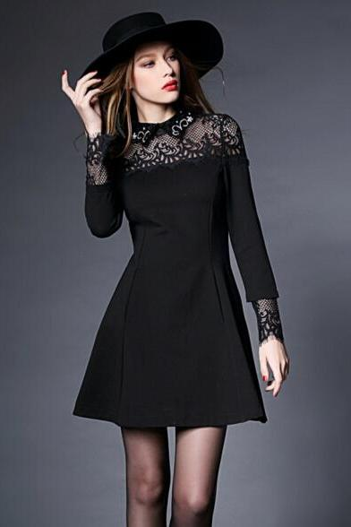 FREE SHIPPING Fall/Winter Vintage Black Long Sleeve Lace Splicing A-Line Dress