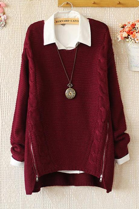 FREE SHIPPING Retro Burgundy Zipper Side Cable Sweater
