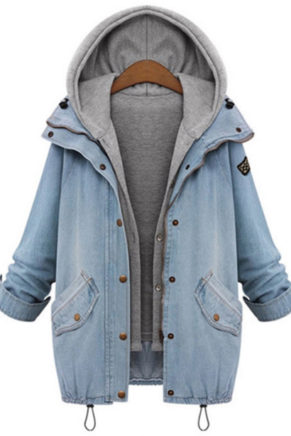 FREE SHIPPING Hooded Drawstring Boyfriend Trends Jean Pockets Coat - 2 Pieces