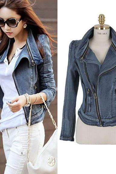 FREE SHIPPING Oblique Zip Slim Motorcycle Biker Denim Coat