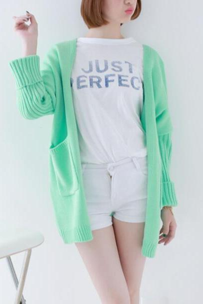 FREE SHIPPING Cute Mint Pockets Cardigan