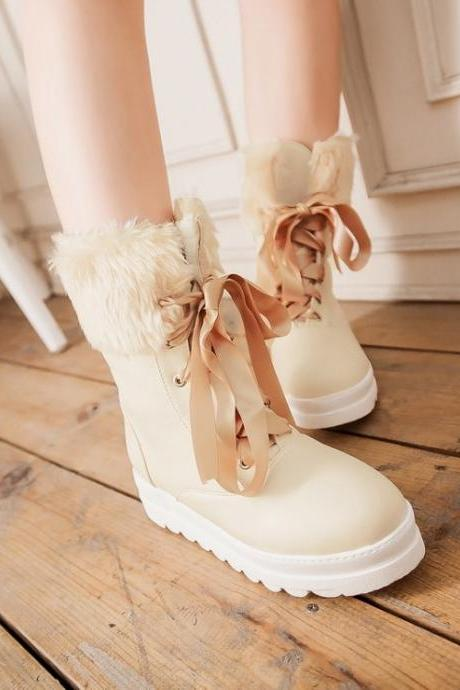 FREE SHIPPING Cute Cream Lace Up Snow Boot