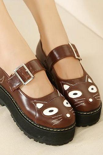 FREE SHIPPING Cute Brown Harajuku Cat Platform Shoes