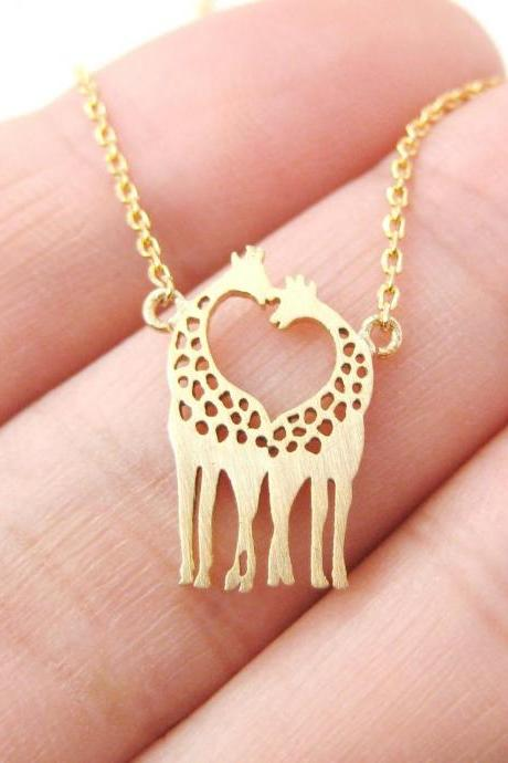 FREE SHIPPING Cute Gold/Silver Giraffe Necklace