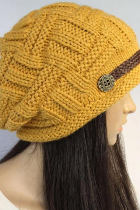 FREE SHIPPING Handmade Slouchy Knitted Hat Beanie With Button