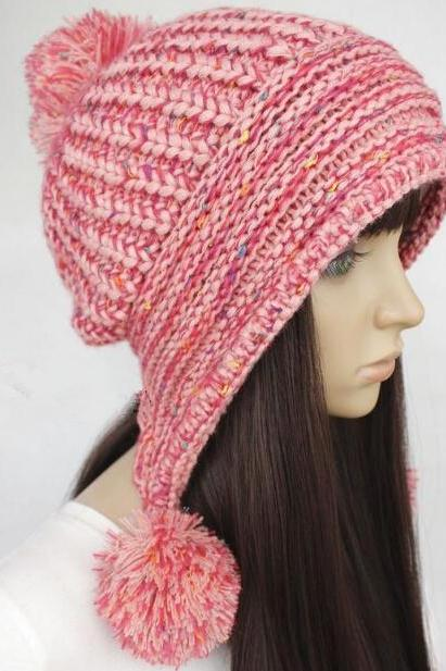 FREE SHIPPING Handmade Slouchy Knitted Hat Cap