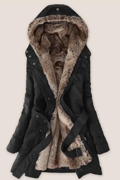 FREE SHIPPING Black Faux Fur Inner Parka Coat