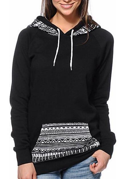 FREE SHIPPING Retro Tribal Print Pocket Hoooded Sweater