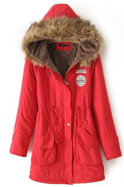 FREE SHIPPING Red Fur Hooded Zipper Embellished Military Coat
