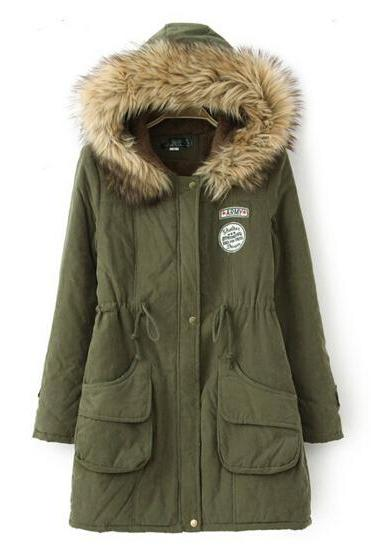 FREE SHIPPING Fur Hooded Zipper Embellished Military Coat