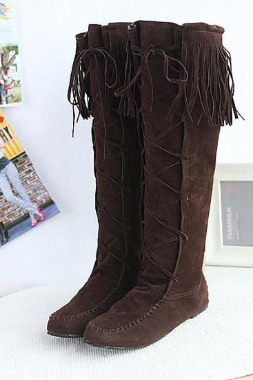 FREE SHIPPING Brown Lace Up Tassel Boots