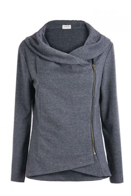 FREE SHIPPING Dark Grey Long Sleeve Asymmetric Zip Outerwear