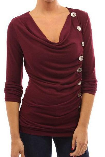FREE SHIPPING Burgundy Buttons Decorated Long Sleeve Top