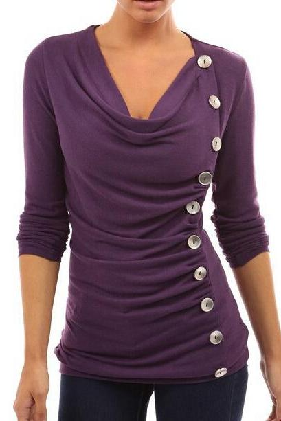 FREE SHIPPING Purple Buttons Decorated Long Sleeve Top