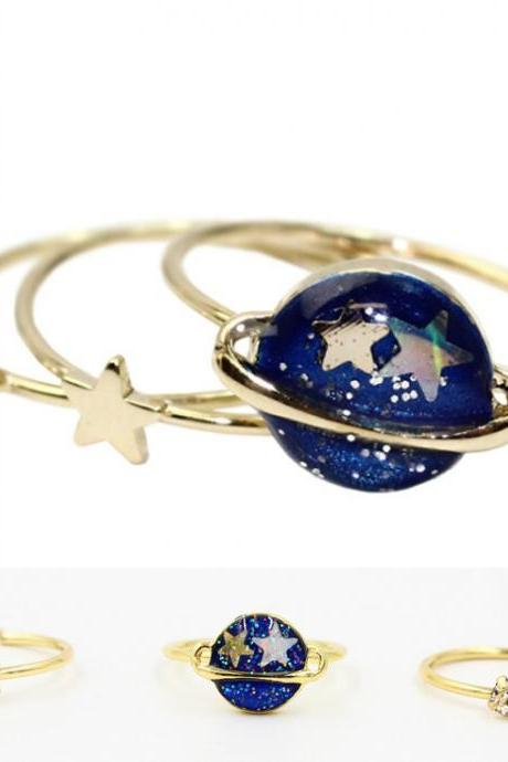 FREE SHIPPING Harajuku Planet Star Diamond Ring, 3 Pieces