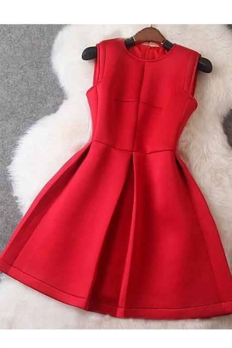 FREE SHIPPING Red Sleeveless Party Dress