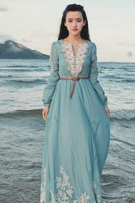 FREE SHIPPING Vintage Light Blue Long Sleeve Lace Chiffon Maxi Dress