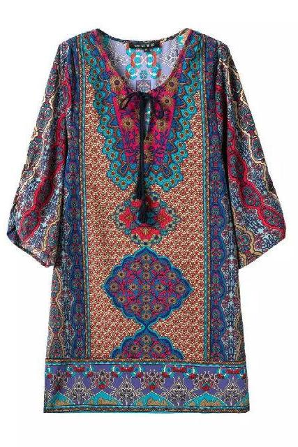 Multicolored 3/4 Sleeves Tribal Print Summer Dress