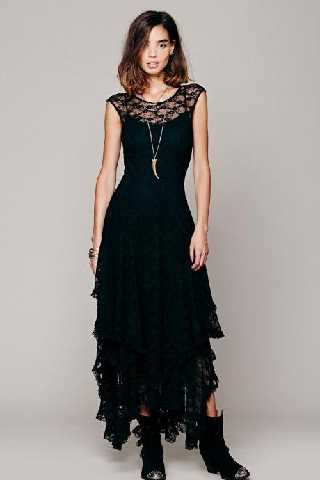 FREE SHIPPING Vintage Black Asymmetrical Lace Sleeveless Maxi Dress
