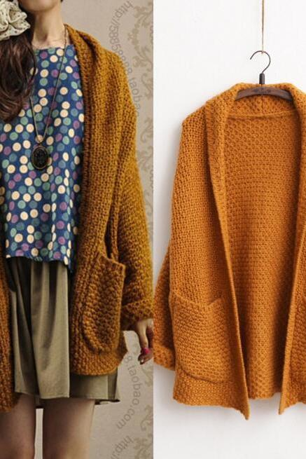 FREE SHIPPING Vintage Long Sleeve Knitted Pockets Cardigan