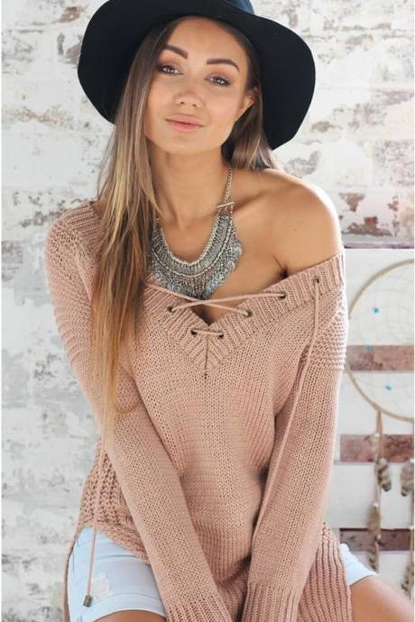 FREE SHIPPING Deep V-neck Lace Up Long Sleeve Sweater