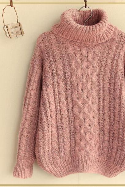 FREE SHIPPING Vintage Pink High Neck Long Sleeve Cable Sweater