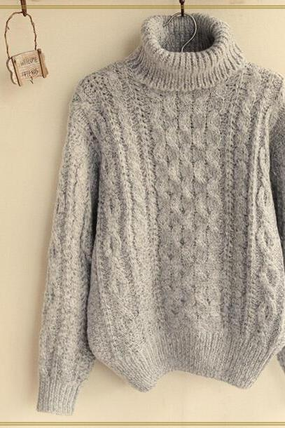 FREE SHIPPING Vintage Grey High Neck Long Sleeve Cable Sweater